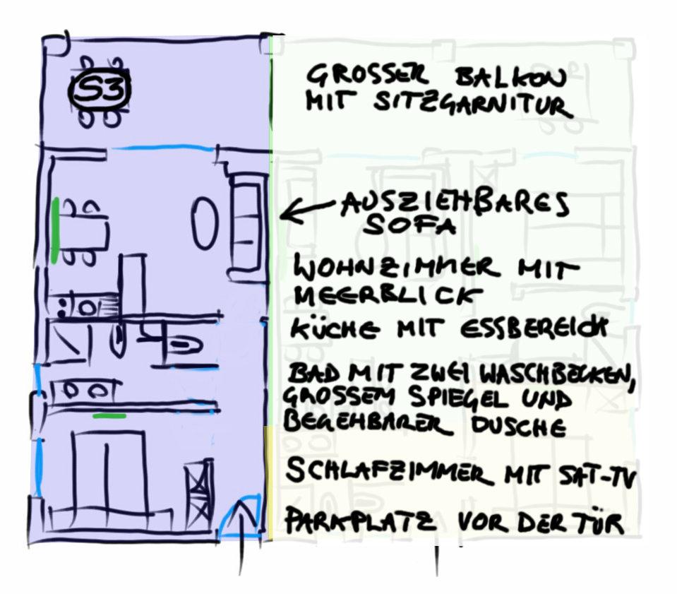 Grundriss Appartement Ferienwohnung S3